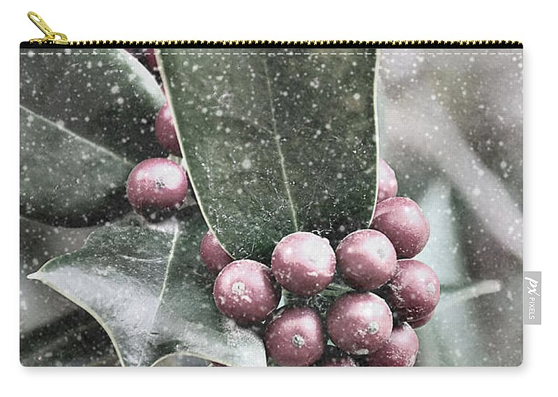 Snowy Carry-all Pouch featuring the photograph Snowy Holly Christmas Card by Jim And Emily Bush