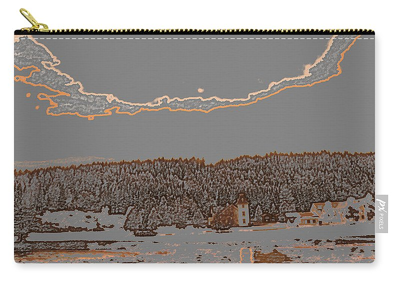 Augusta Stylianou Carry-all Pouch featuring the digital art Snowy Landscape by Augusta Stylianou
