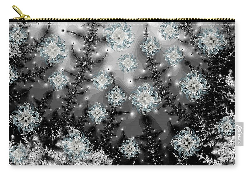 Fractal Carry-all Pouch featuring the digital art Snowy Night I Fractal by Betsy Knapp