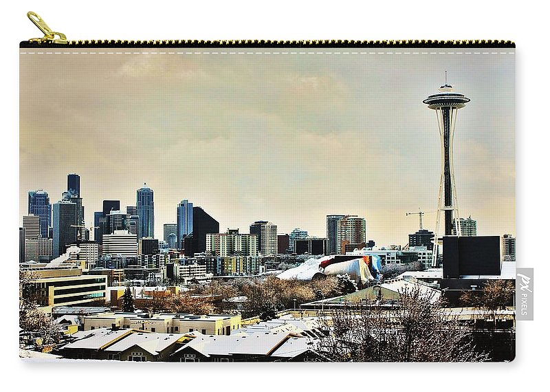 Seattle Carry-all Pouch featuring the photograph Snowy Seattle by Benjamin Yeager