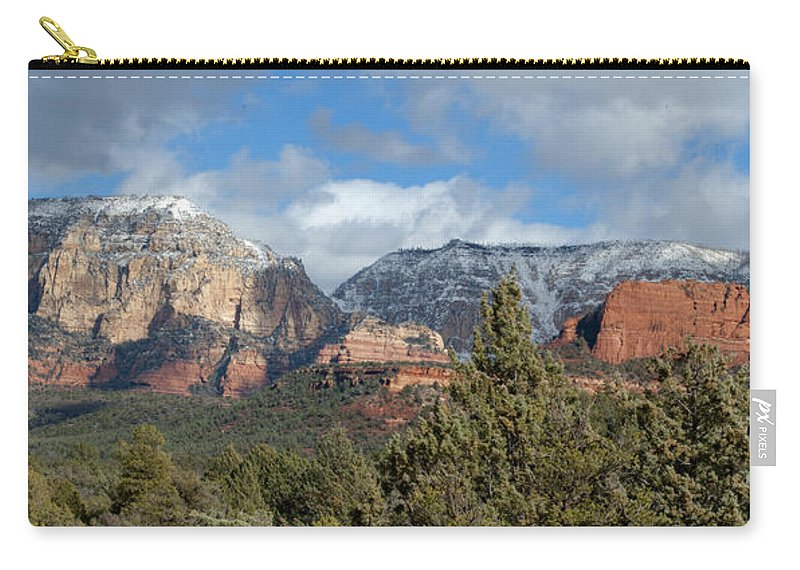 Southwest Carry-all Pouch featuring the photograph Snowy Sedona Afternoon by Sandra Bronstein