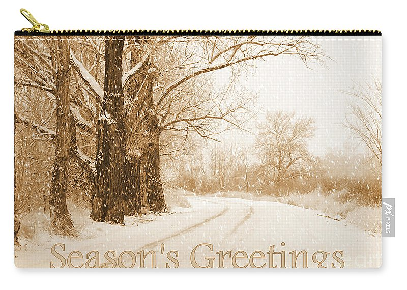 Christmas Card Carry-all Pouch featuring the photograph Soft Sepia Season's Greetings Card by Carol Groenen