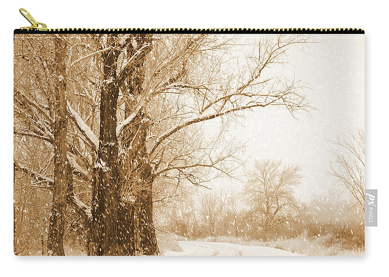Snowy Holiday Scene Carry-all Pouch featuring the photograph Soft Sepia Season's Greetings by Carol Groenen