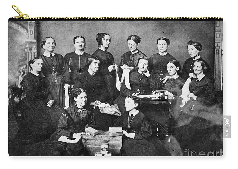 1863 Carry-all Pouch featuring the photograph Soldiers Aid Society, 1863 by Granger
