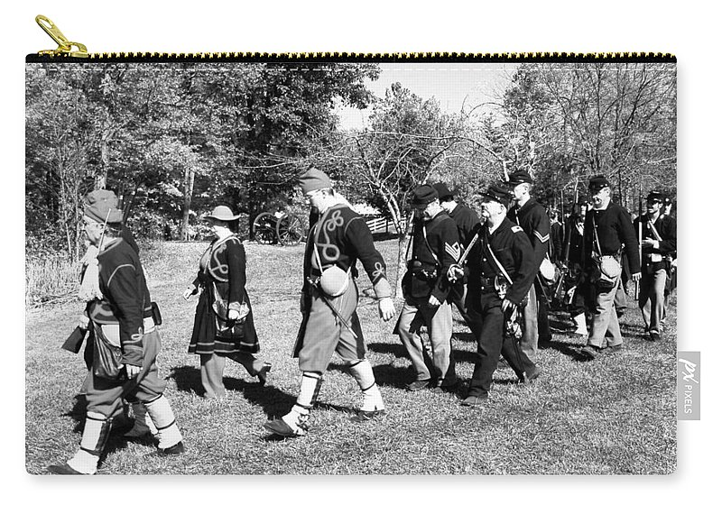 Usa Carry-all Pouch featuring the photograph Soldiers March Black And White IIi by LeeAnn McLaneGoetz McLaneGoetzStudioLLCcom