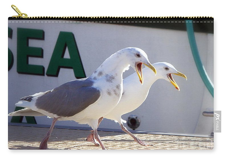 Sea Gull Carry-all Pouch featuring the photograph Sound Off by Dorothy Hilde