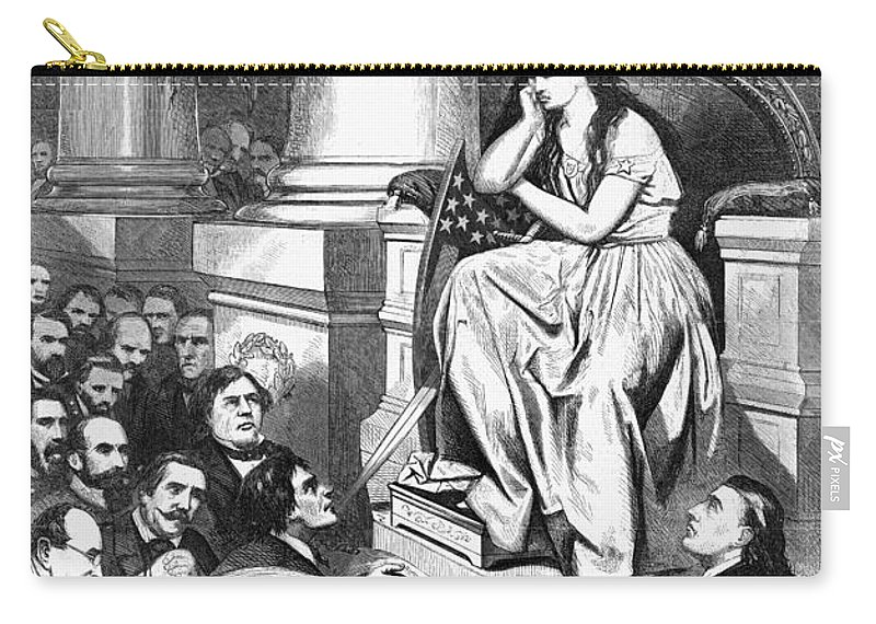 1865 Carry-all Pouch featuring the photograph Southern Pardon Cartoon by Granger