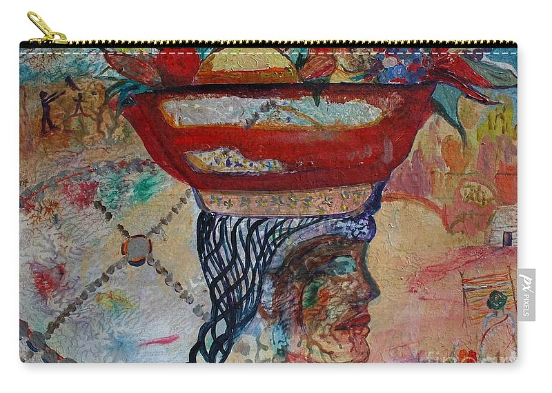 Woman Carry-all Pouch featuring the painting Southwestern Composite by Avonelle Kelsey