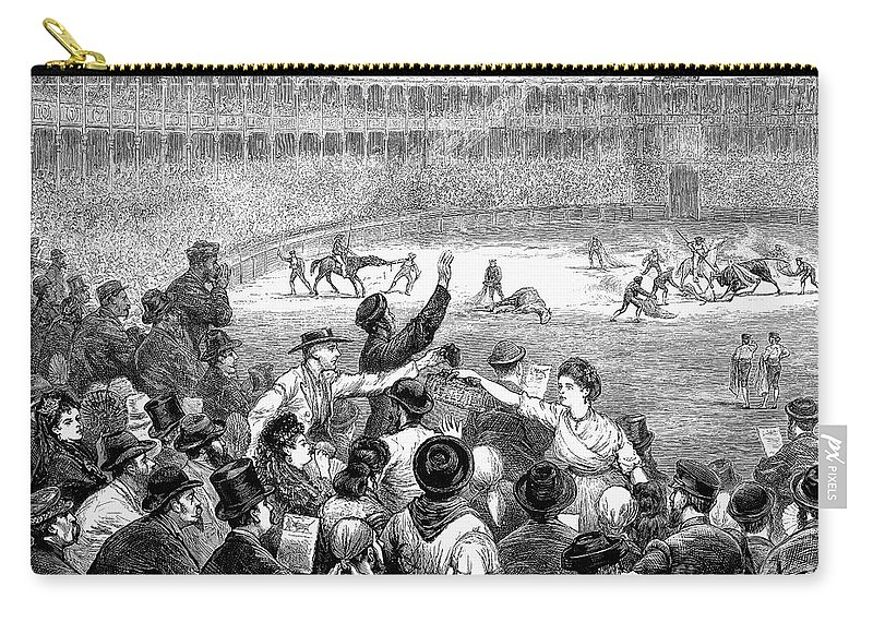 1875 Carry-all Pouch featuring the photograph Spain: Bullfight, 1875 by Granger