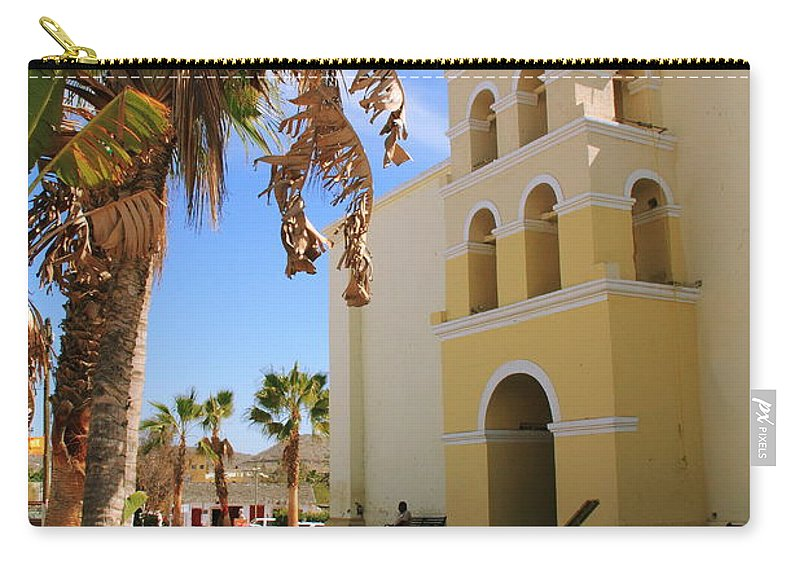 Spanish Mission Carry-all Pouch featuring the photograph Spanish Mission In Todos Santos by Roupen Baker