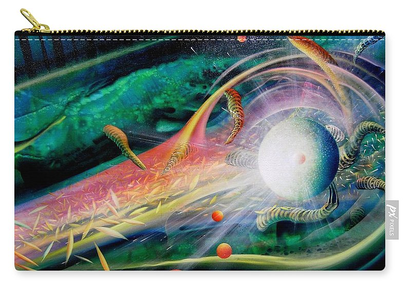 Sphere Carry-all Pouch featuring the painting Sphere Metaphysics by Drazen Pavlovic