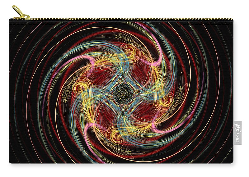 Fractal Carry-all Pouch featuring the digital art Spin Fractal by Betsy Knapp