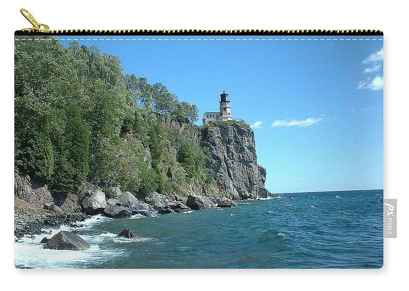 Lighthouse Carry-all Pouch featuring the photograph Split Rock by Bonfire Photography