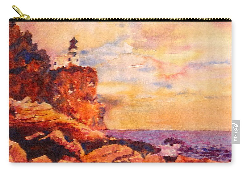 Paintings Carry-all Pouch featuring the painting Split Rocks Golden Memories    by Kathy Braud