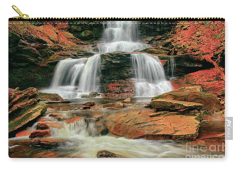 Ricketts Glen Carry-all Pouch featuring the photograph Split Up The Middle by Adam Jewell