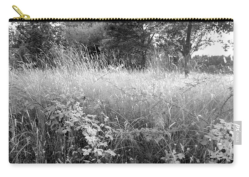Landscape Carry-all Pouch featuring the photograph Spring Field Black And White by Kathleen Grace