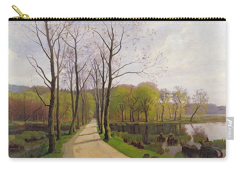Spring Landscape Carry-all Pouch featuring the painting Spring Landscape by Hans Brasen