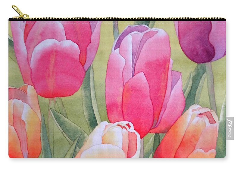 Tulips Carry-all Pouch featuring the painting Spring by Laurel Best