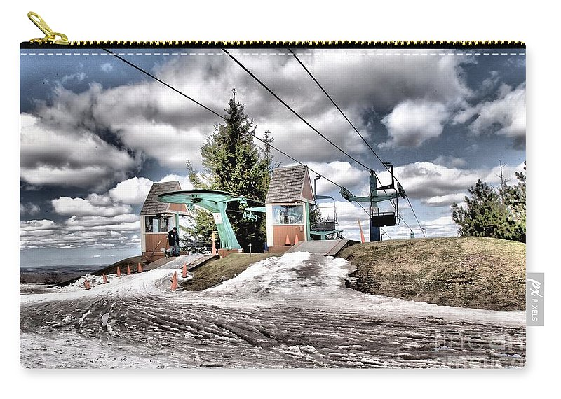 Skiing Carry-all Pouch featuring the photograph Spring Mud Skiing by Adam Jewell