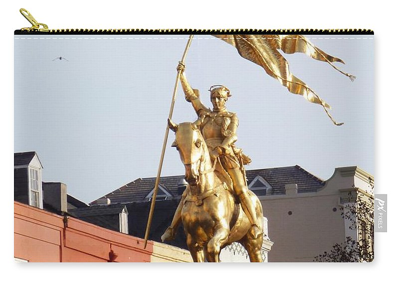 Joan Of Arc Carry-all Pouch featuring the photograph St. Joan At Dawn by Alys Caviness-Gober