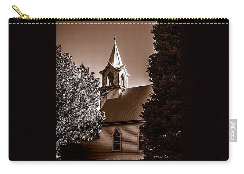 Rural Church Carry-all Pouch featuring the photograph St. John's Lutheran Church In The Trees by Edward Peterson