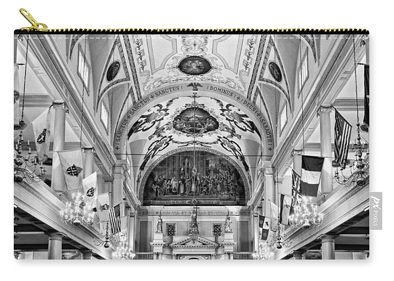 French Quarter Carry-all Pouch featuring the photograph St. Louis Cathedral Monochrome by Steve Harrington