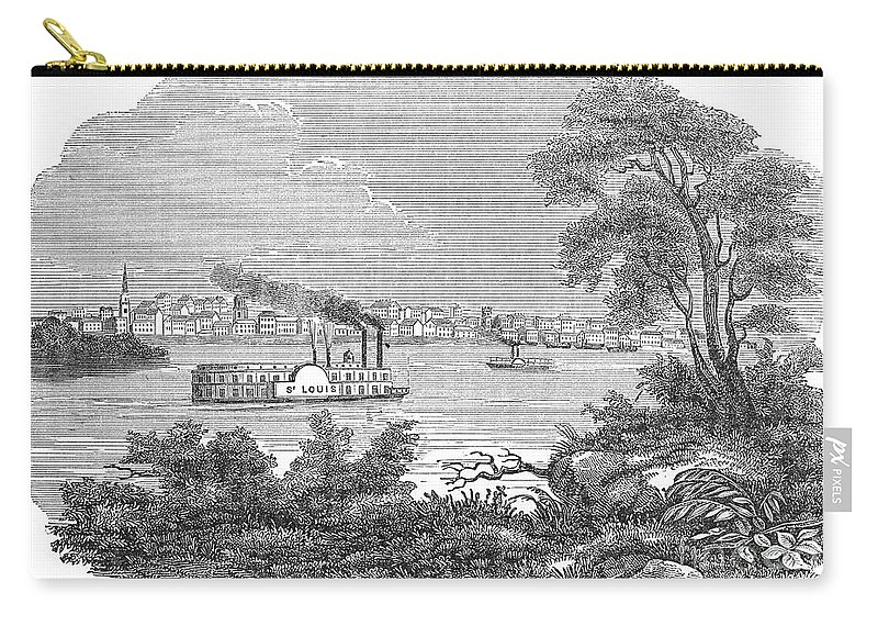 1847 Carry-all Pouch featuring the photograph St. Louis, Missouri, 1847 by Granger