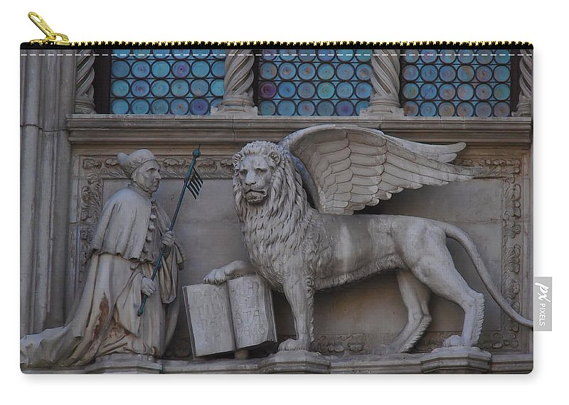 St. Marco And The Lion Carry-all Pouch featuring the photograph St. Marco And The Lion by Bill Cannon