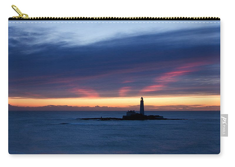 St Marys Carry-all Pouch featuring the photograph St Marys Lighthouse Sunrise by David Pringle