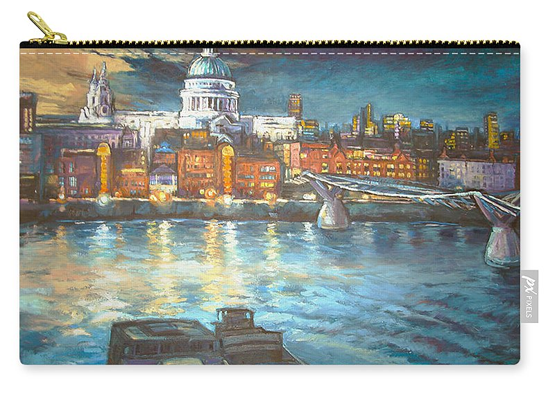 River View Of St Pauls Cathedral Carry-all Pouch featuring the painting St Pauls Cathedral With Millenium Bridge by Patricia Clements