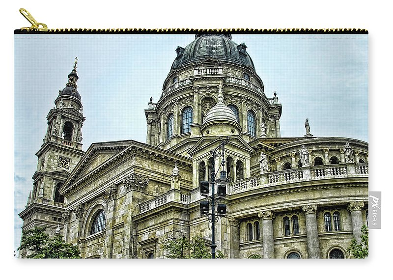 Stephens Cathedral Budapest Hungary Carry-all Pouch featuring the photograph St Stephens Cathedral - Budapest by Jon Berghoff