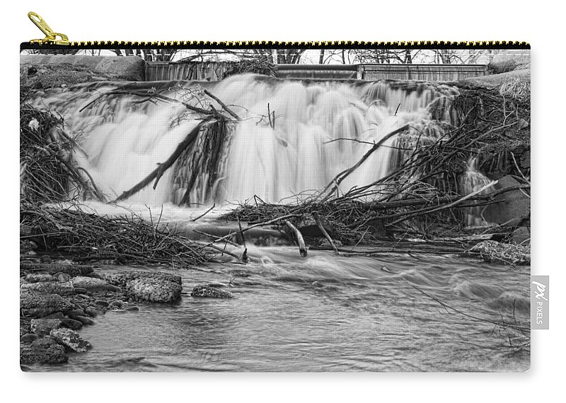 Waterfalls Carry-all Pouch featuring the photograph St Vrain River Waterfall Slow Flow Bw by James BO Insogna