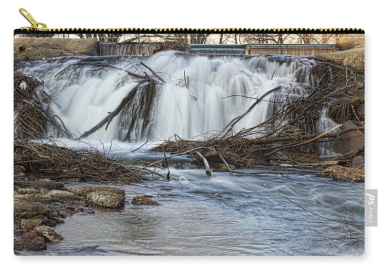 Waterfall Carry-all Pouch featuring the photograph St Vrain River Waterfall Slow Flow by James BO Insogna