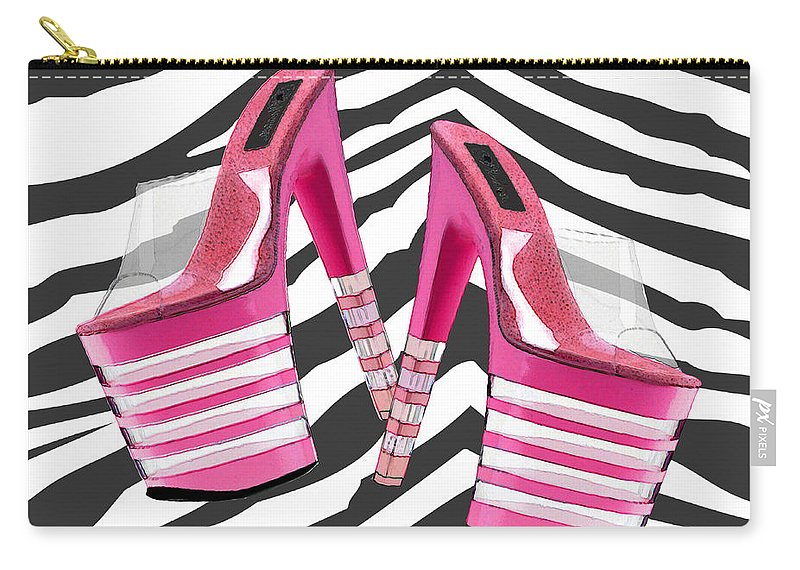 Shoes Heels Pumps Fashion Designer Feet Foot Shoe Stilettos Painting Paintings Illustration Illustrations Sketch Sketches Drawing Drawings Pump Stiletto Fetish Designer Fashion Boot Boots Footwear Sandal Sandals High+heels High+heel Women's+shoes Graphic Sophisticated Elegant Modern Carry-all Pouch featuring the painting Stack 'em High Pink Platforms On Zebra by Elaine Plesser