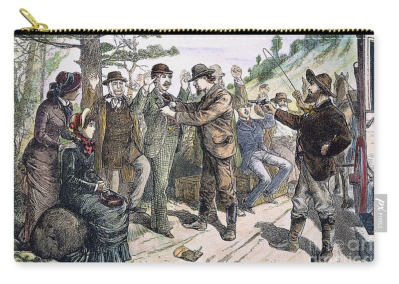 1880s Carry-all Pouch featuring the photograph Stagecoach Robbery, 1880s by Granger