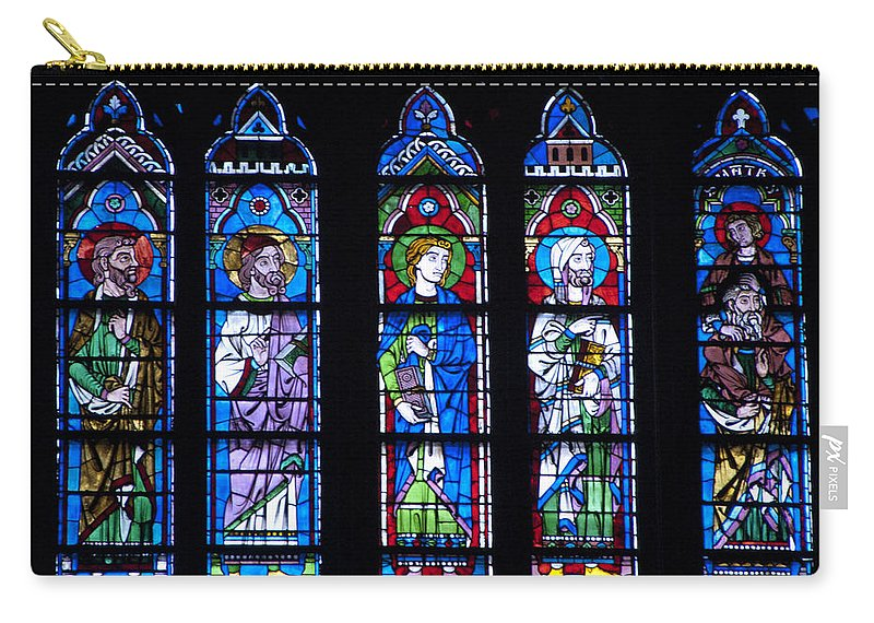 France Carry-all Pouch featuring the photograph Stain Glass At Notre Dame Cathedral Parus by Jon Berghoff