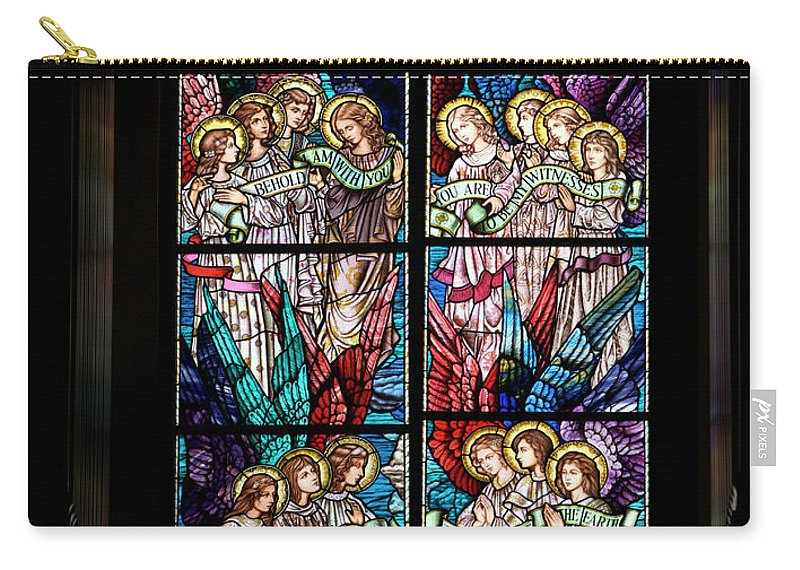 Glass Art Carry-all Pouch featuring the digital art Stained Glass Pc 05 by Thomas Woolworth