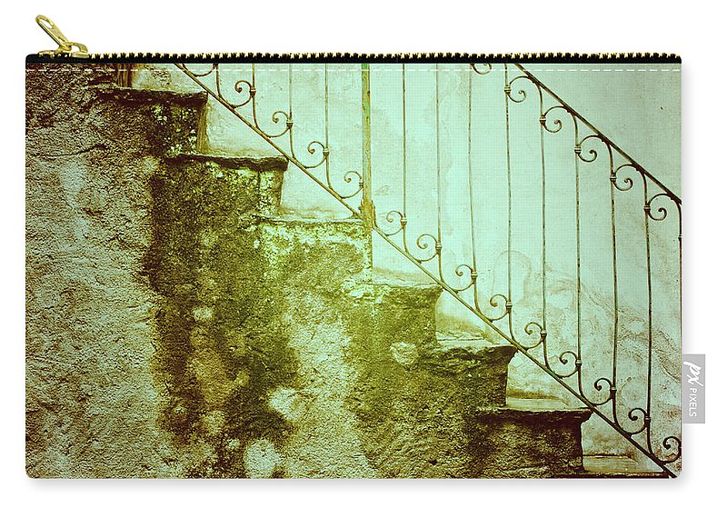 Stairs Carry-all Pouch featuring the photograph Stairs On A Rainy Day II by Silvia Ganora