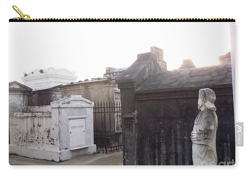 St. Loius Cemetery 1 Carry-all Pouch featuring the photograph Standing Guard by Alys Caviness-Gober
