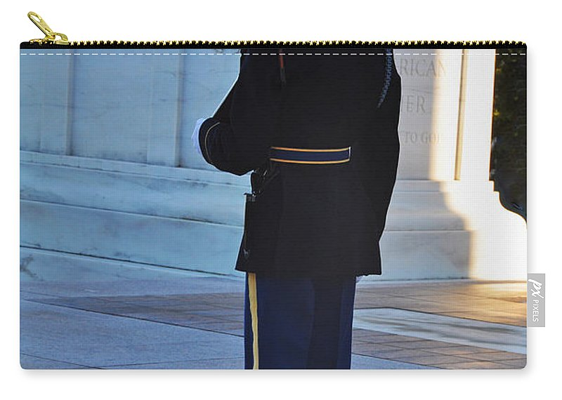 Tomb Of The Unknowns At Arlington National Cemetery Carry-all Pouch featuring the photograph Standing Guard by Brittany Horton