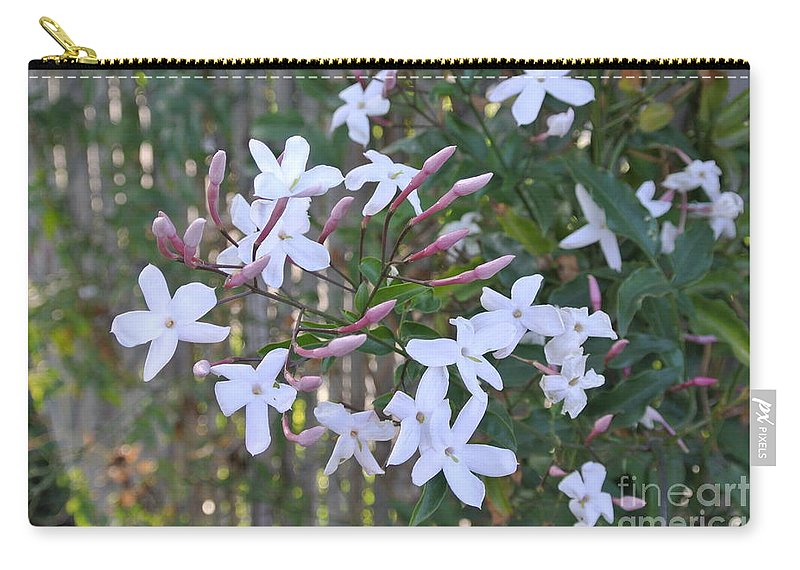 Flower Carry-all Pouch featuring the photograph Star Jasmin In Bloom by Customikes Fun Photography and Film Aka K Mikael Wallin