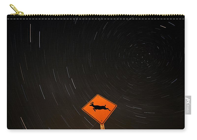 Star Carry-all Pouch featuring the photograph Star Tracks Behind Deer Crossing Sign by Mark Duffy
