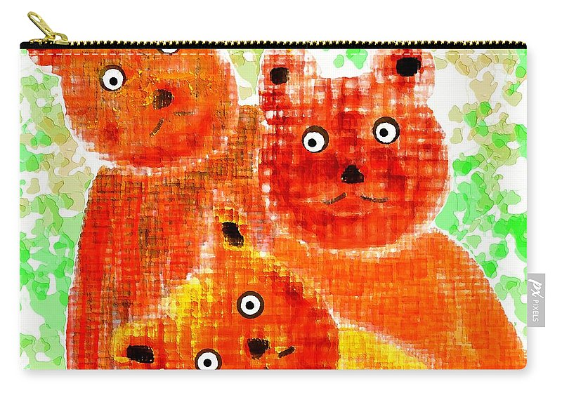 Teddy Carry-all Pouch featuring the digital art Stargazing Teddy Bears by Barbara Moignard
