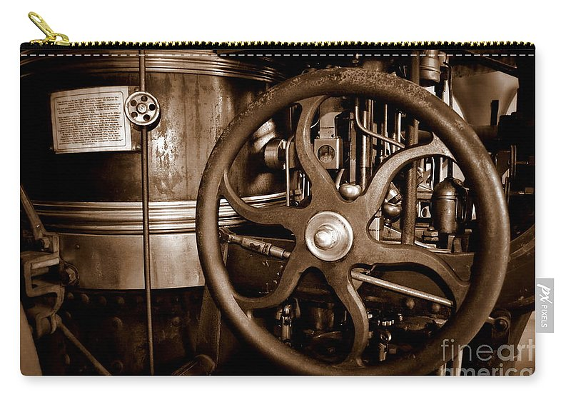 Steam Carry-all Pouch featuring the photograph Steam Wheel by Kevin Fortier