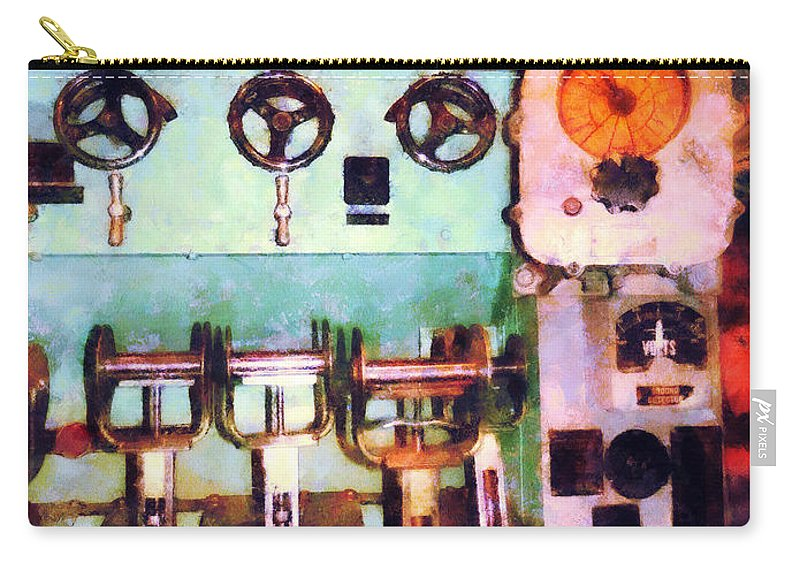 Steampunk Carry-all Pouch featuring the photograph Steampunk - Electrical Control Room by Susan Savad