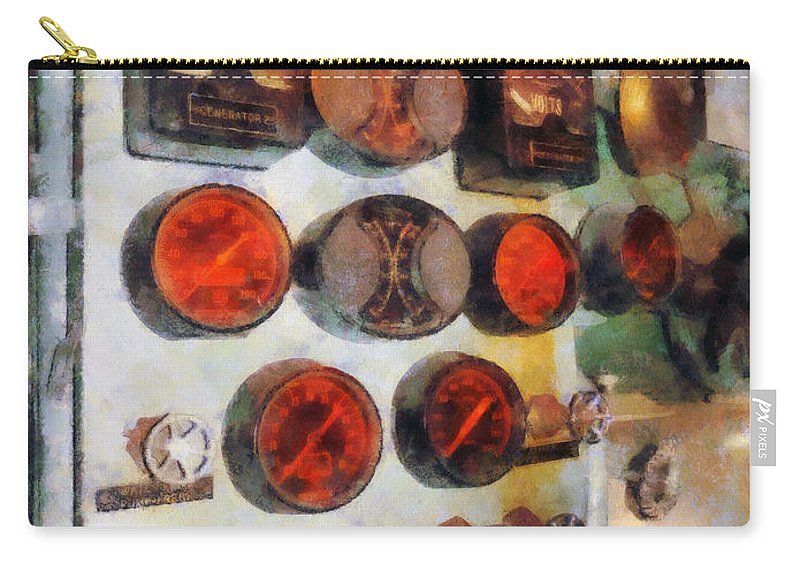 Steampunk Carry-all Pouch featuring the photograph Steampunk - Gauges In Engine Room by Susan Savad