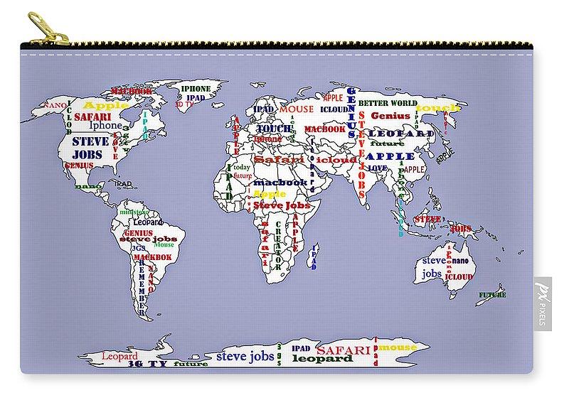Steve jobs apple world map digital art carry all pouch for sale by steve jobs digital art carry all pouch featuring the painting steve jobs apple world map gumiabroncs Gallery