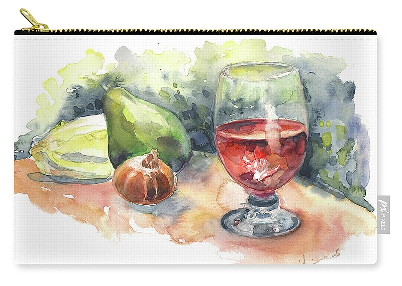 Still Life Carry-all Pouch featuring the painting Still Life With Red Wine Glass by Miki De Goodaboom
