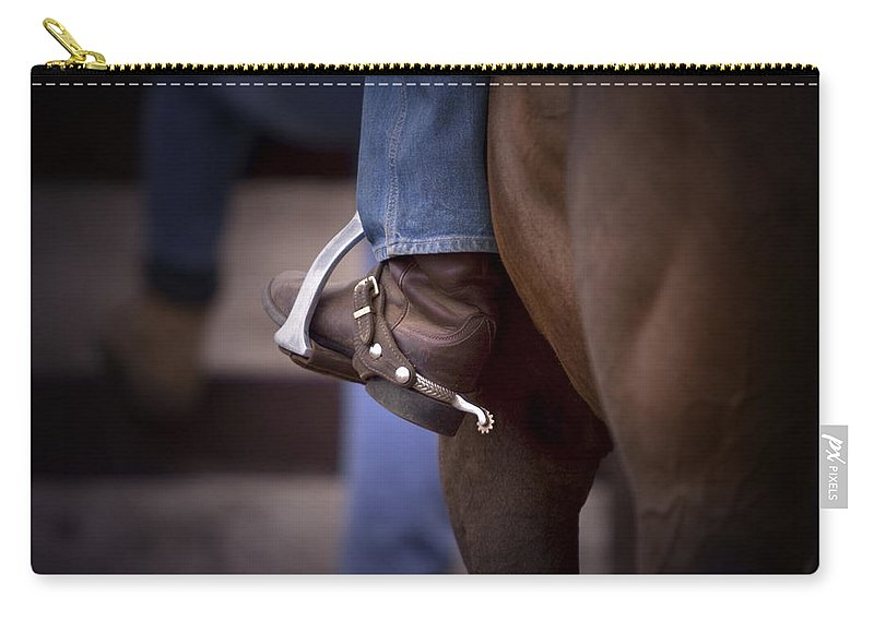 Horse Carry-all Pouch featuring the photograph Stockhorse And Spurs by Michelle Wrighton