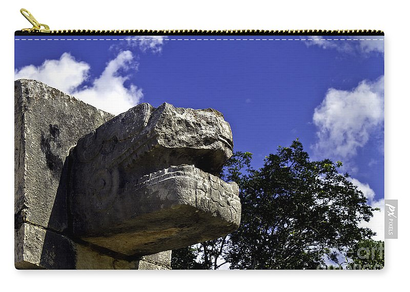 Chichen Itza Carry-all Pouch featuring the photograph Stone Face by Ken Frischkorn